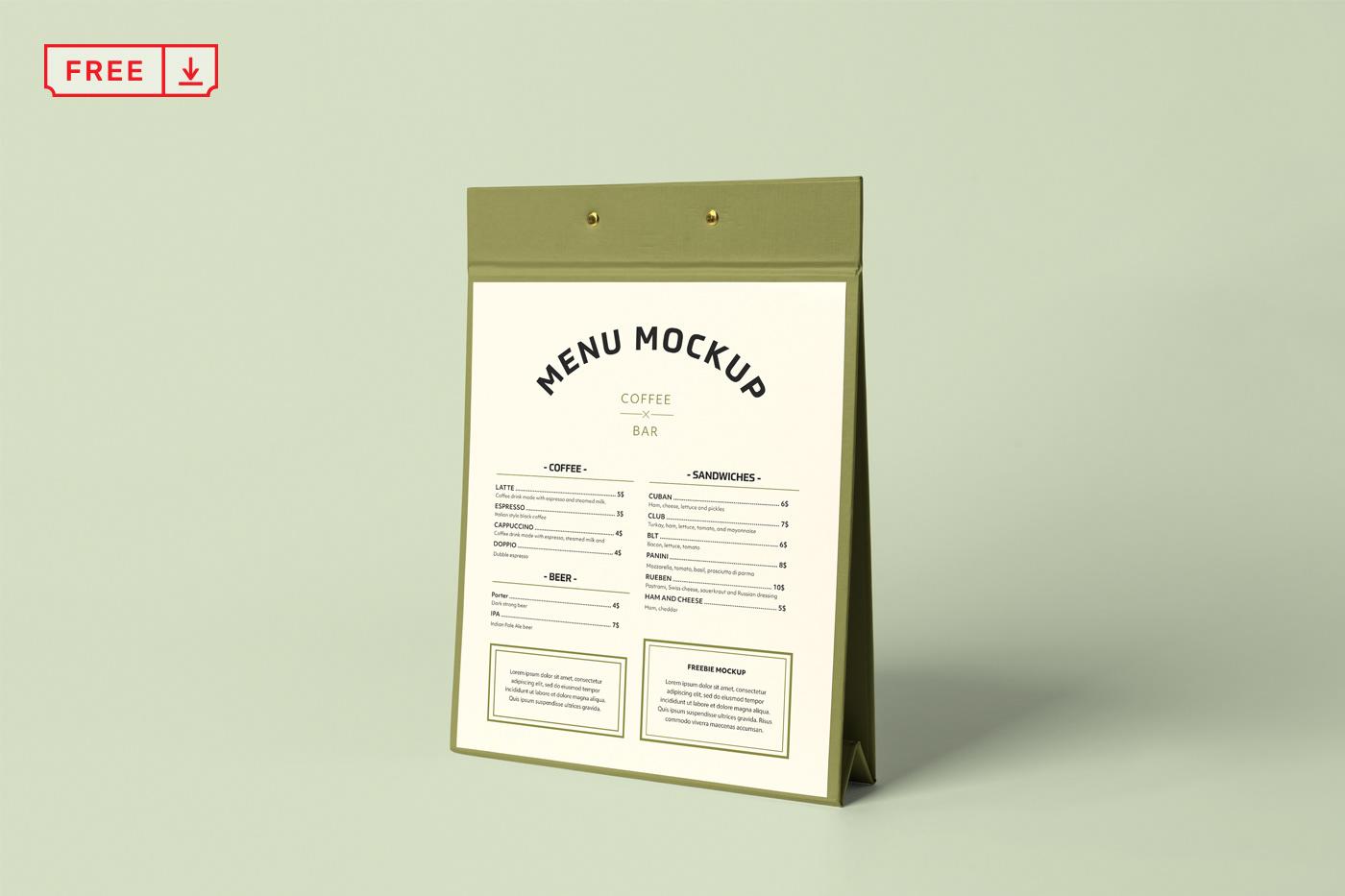 design downland free freebies menu Mockup Project psd realistic Stand