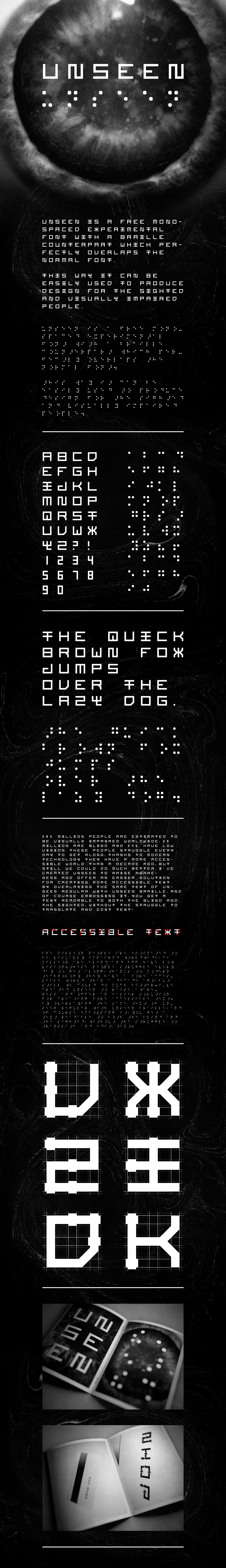 font free Braille blind monospace square minimal modern freebie Typeface typo bauhaus experimental accessible download