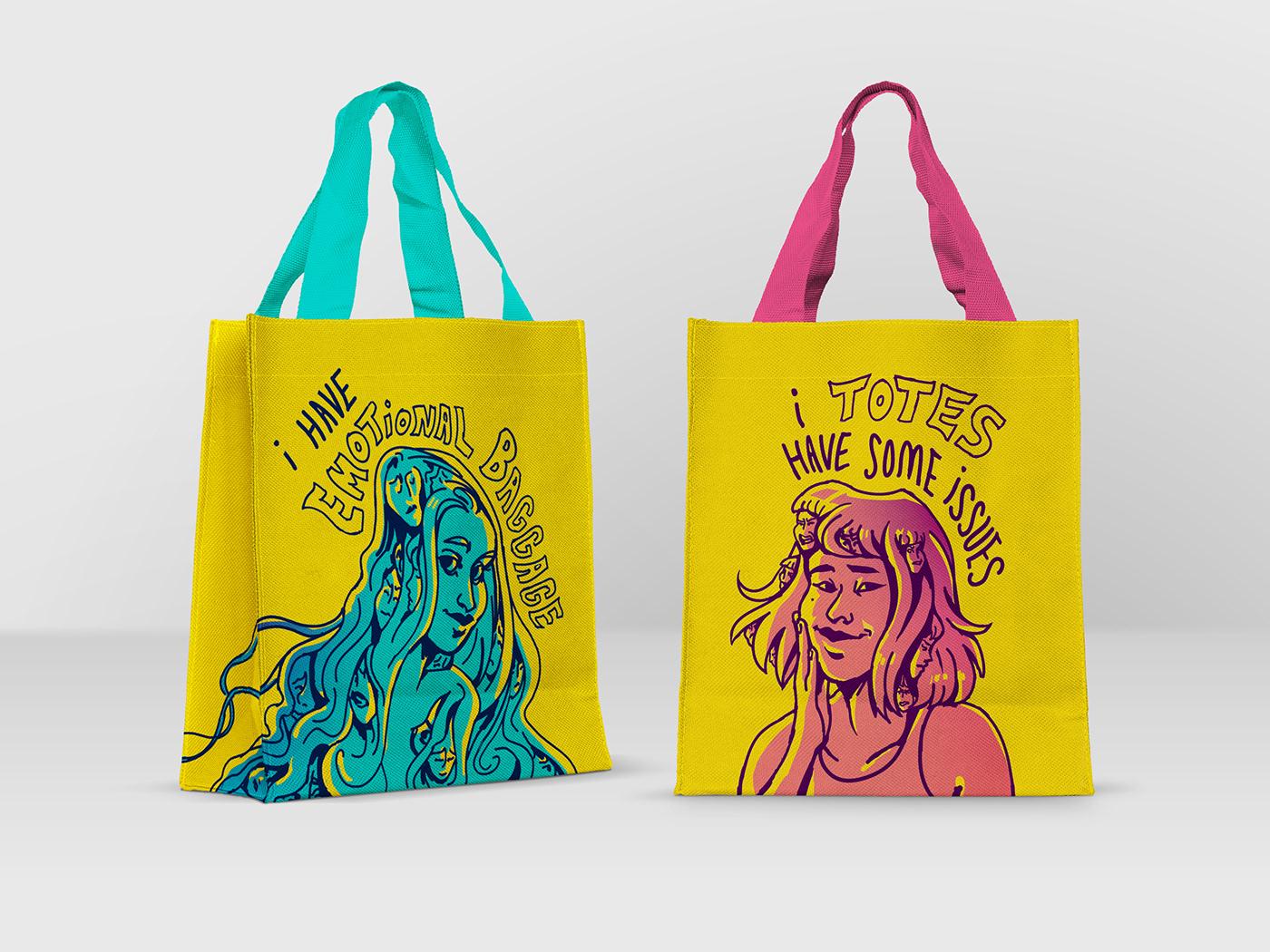 artwork bag baggage design Digital Art  ILLUSTRATION  puns