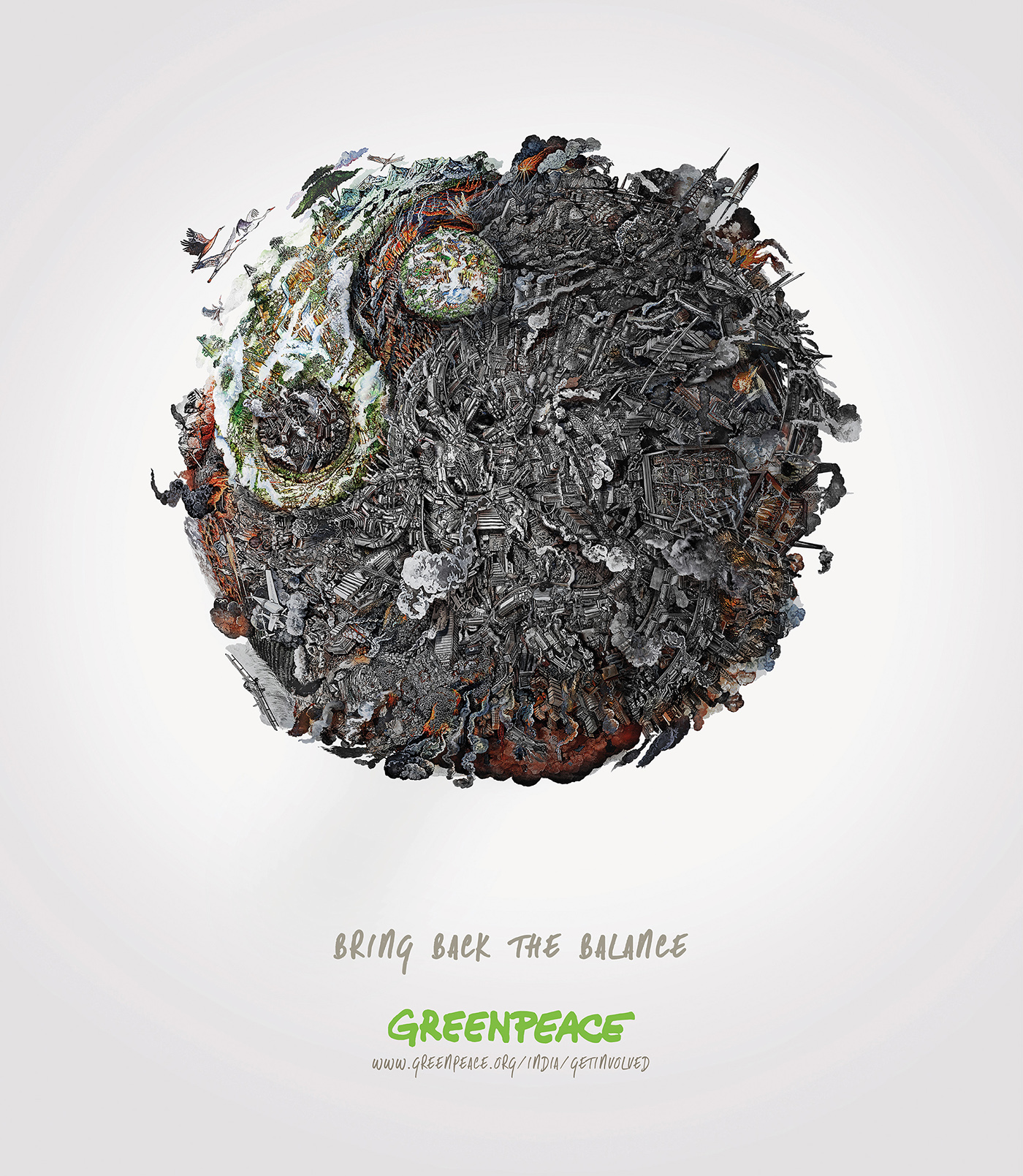 earth balance Greenpeace India volunteer McCann trees Nature pollution smoke environment Environmental Issues line drawing watercolor graphic