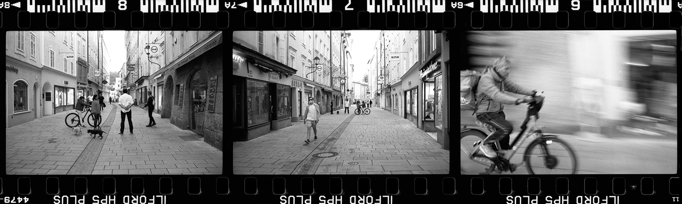film stripe black and white showing 3 images