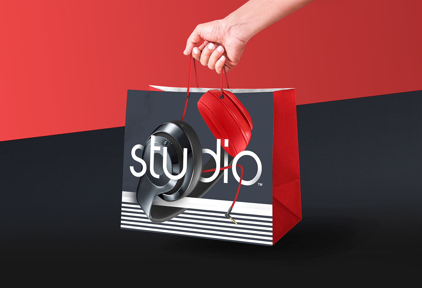 beats by dre shopping bag box design on behance