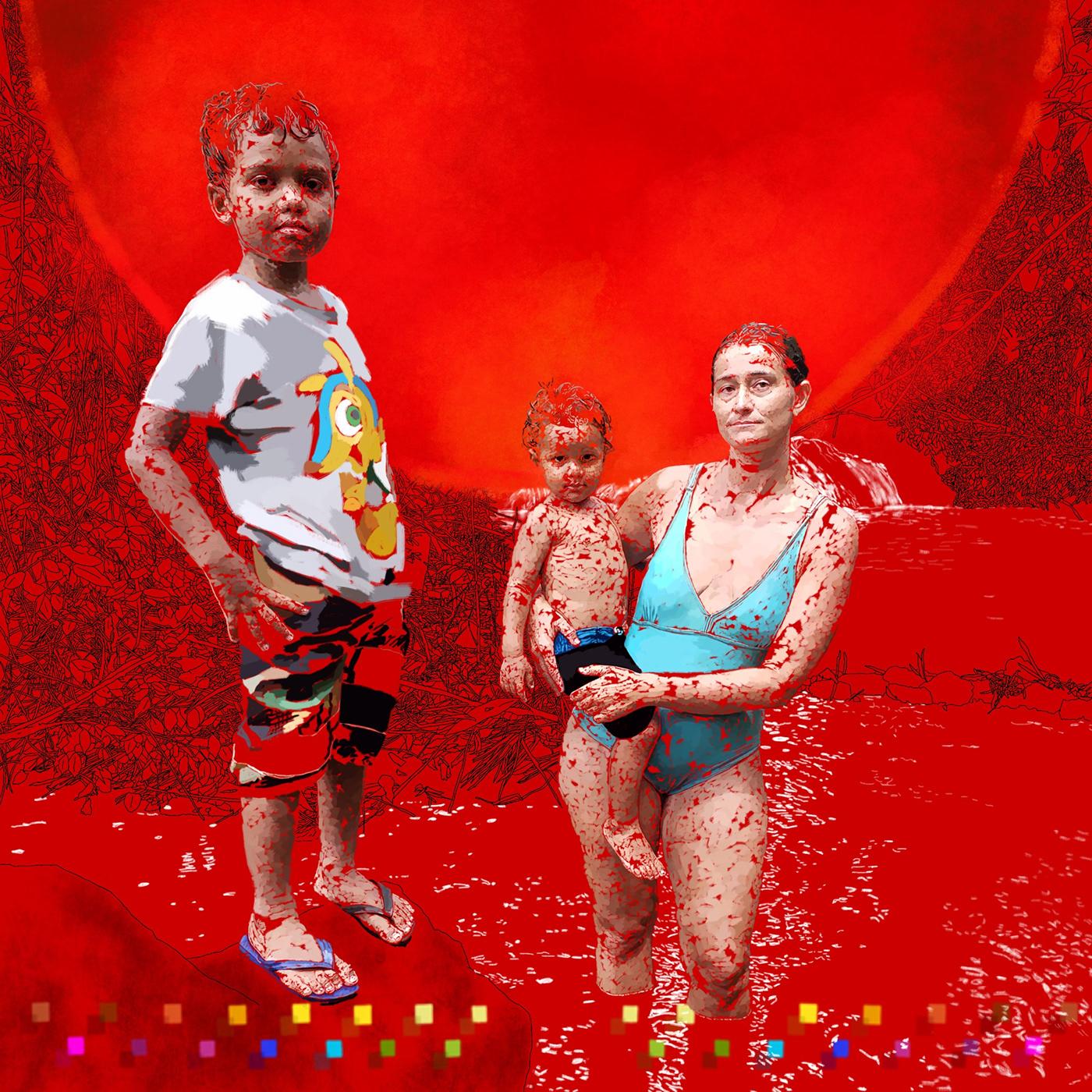 Brazilian Contemporary painting digital painting rosso vida nua