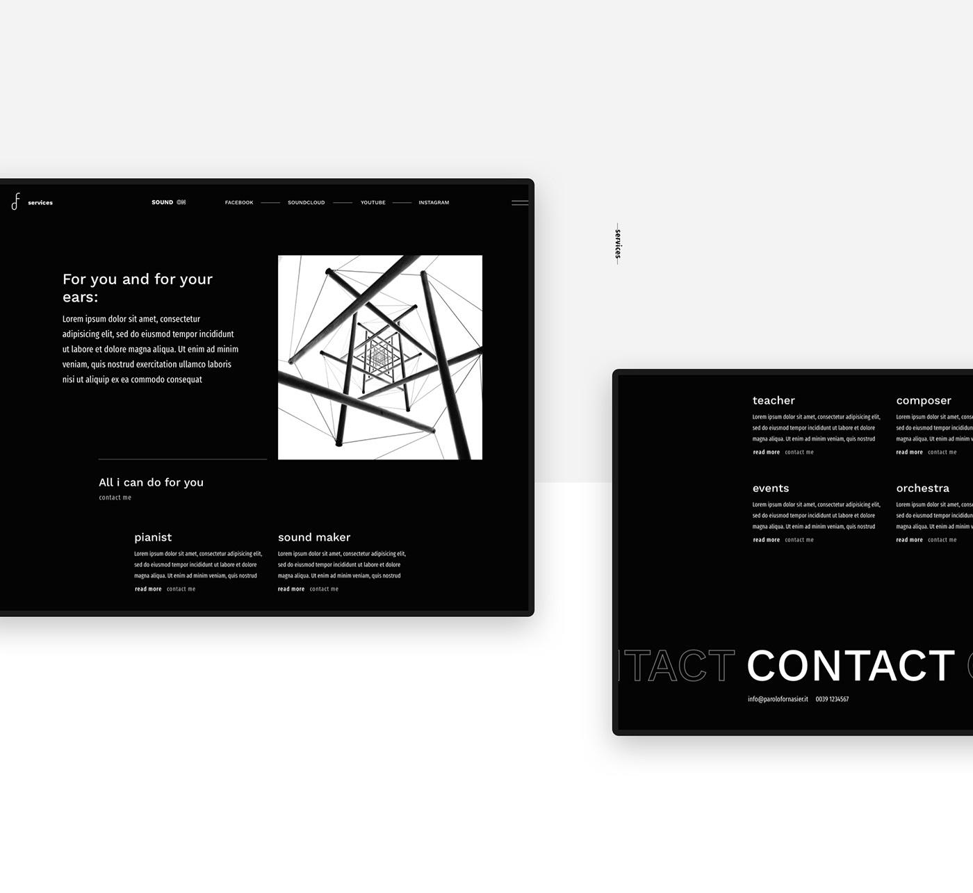 portfolio Web Design  music minimal Web design typography   black white Website Progetto web