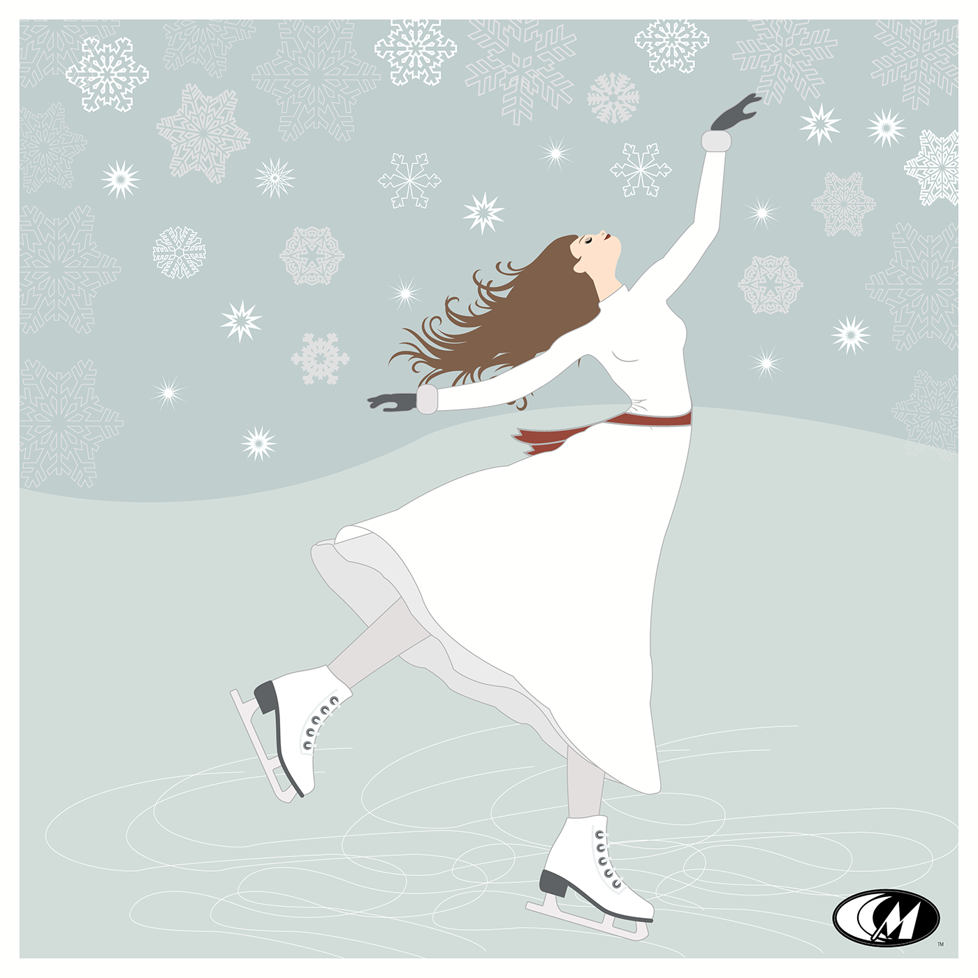 ILLUSTRATION  graphic design  Digital Art  skater holiday cards  Collection prints series Winter Wonderland snow