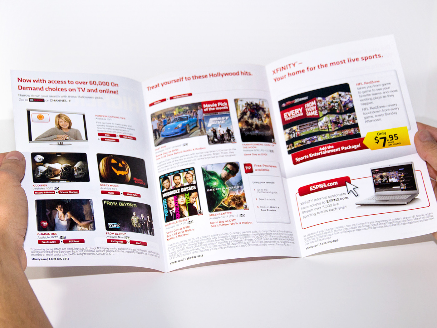 comcast xfinity Direct mail marketing   on demand Movies mailer bill insert Channel lineup mso