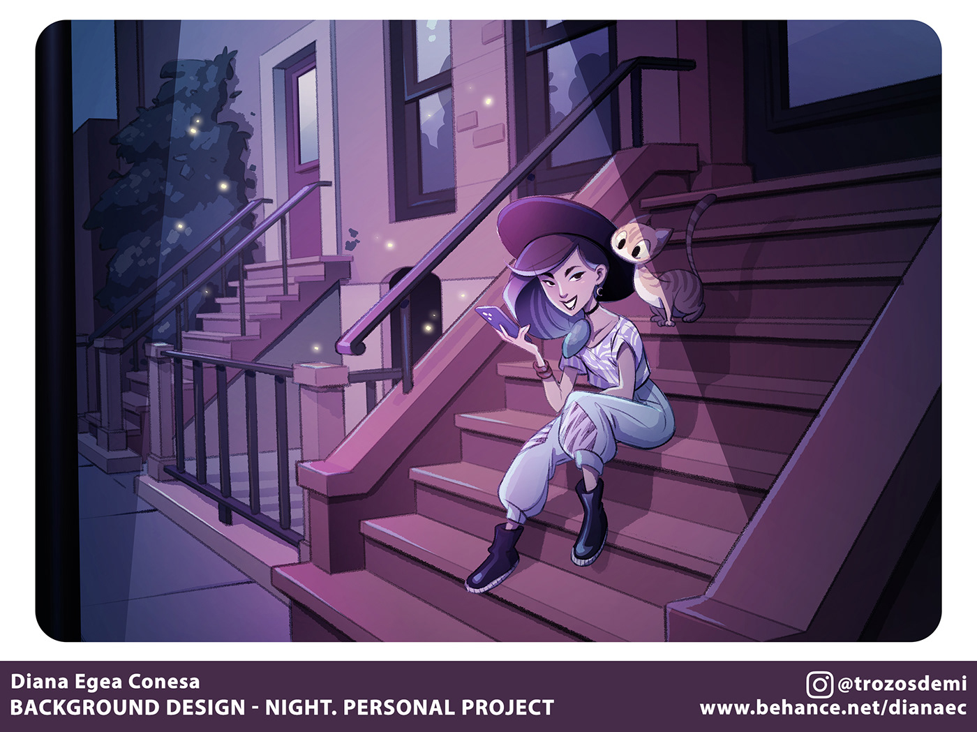 background cartoon Cat Character concept design ILLUSTRATION  teenage witch