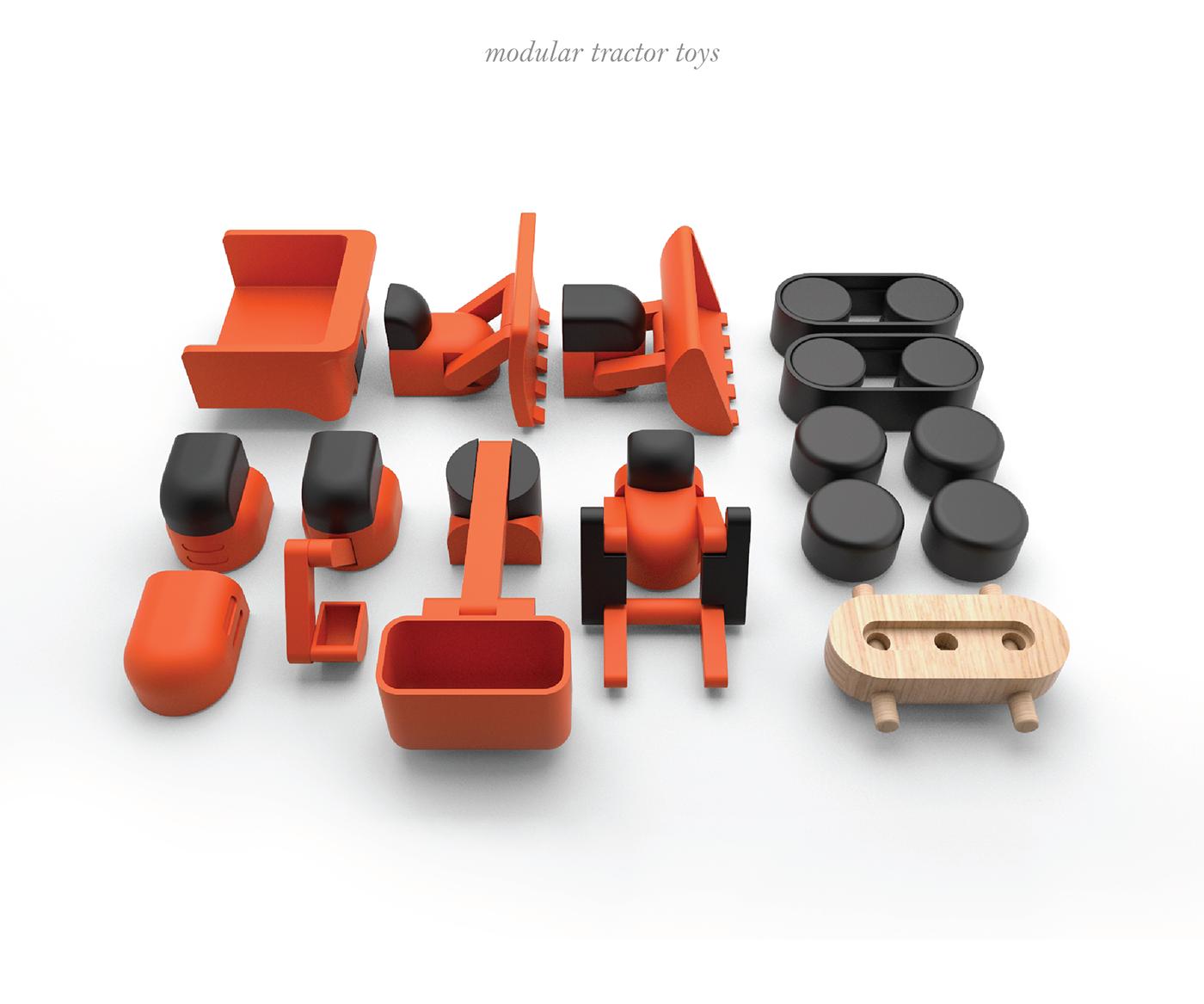 toys tractors modular wood wooden wheels Buckets trucks Truck Tractor