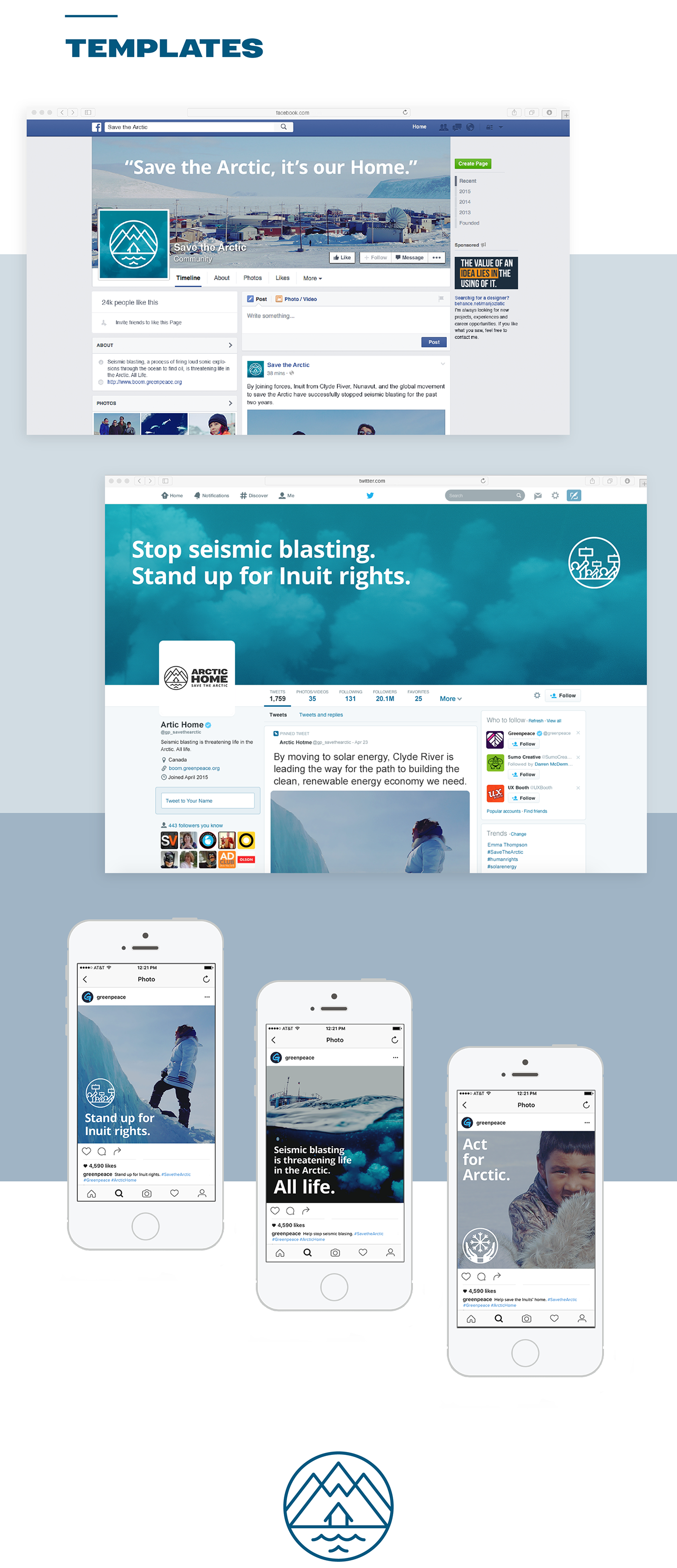 non-profit Greenpeace campaign landing page petition social media templates Style Guide banner design iconography wireframes