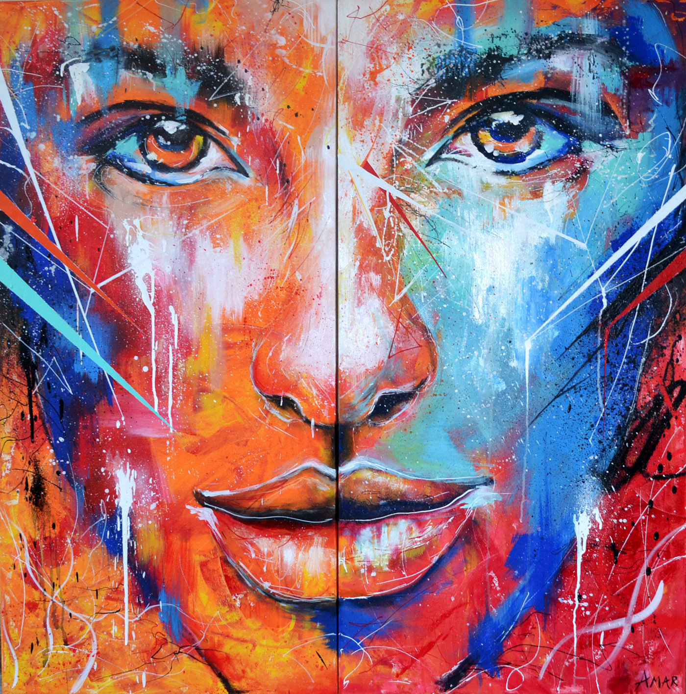 Fire and ice abstract portrait painting on behance for Photos to paint