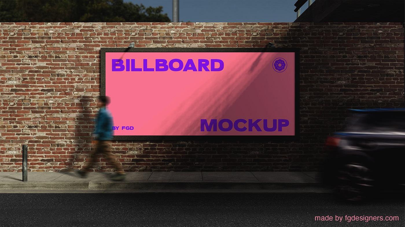 Advertising  billboard Mockup mockups Outdoor template