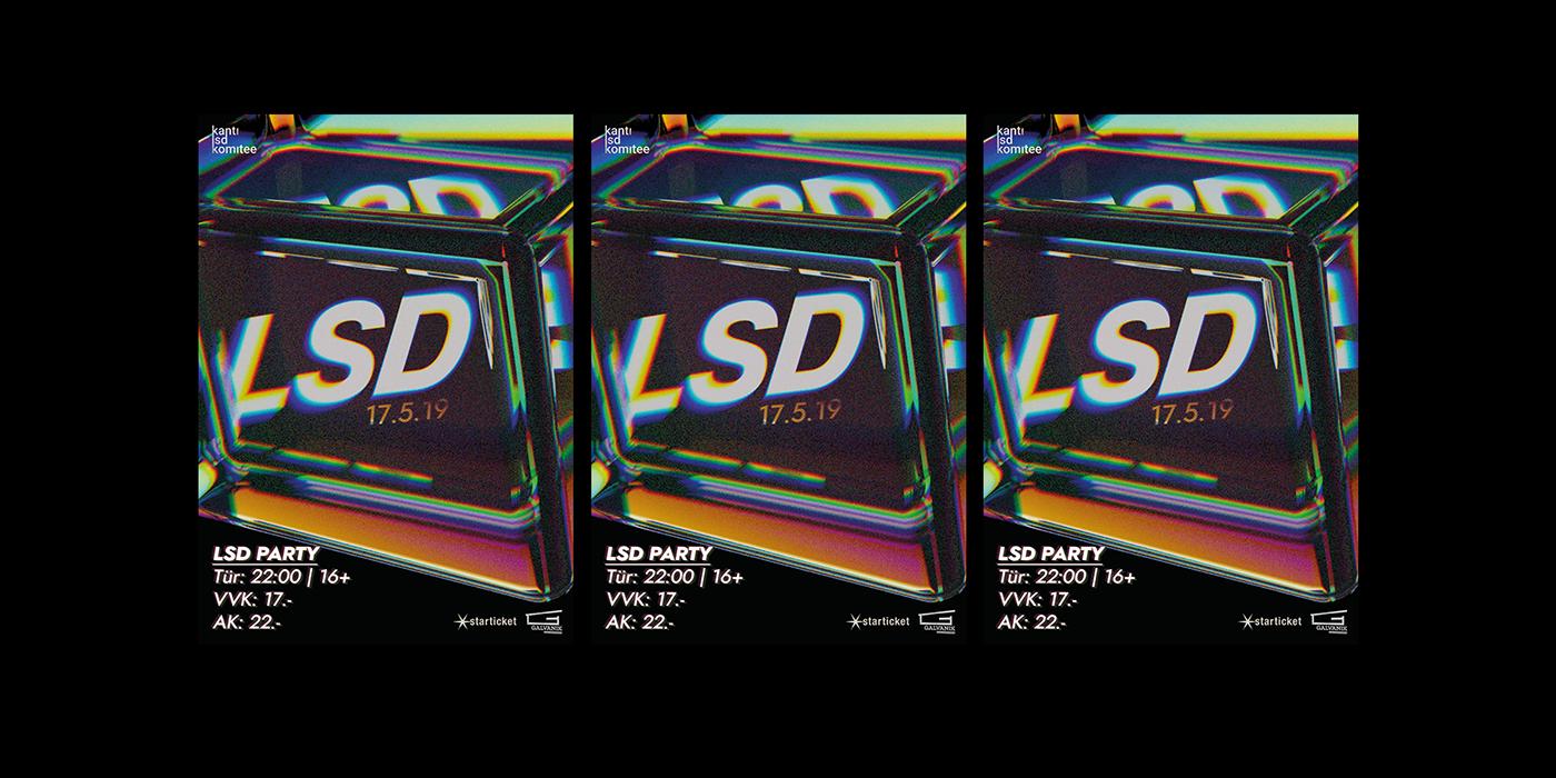 poster cinema 4d 3D party Event Advertising  complex Retro spectrum