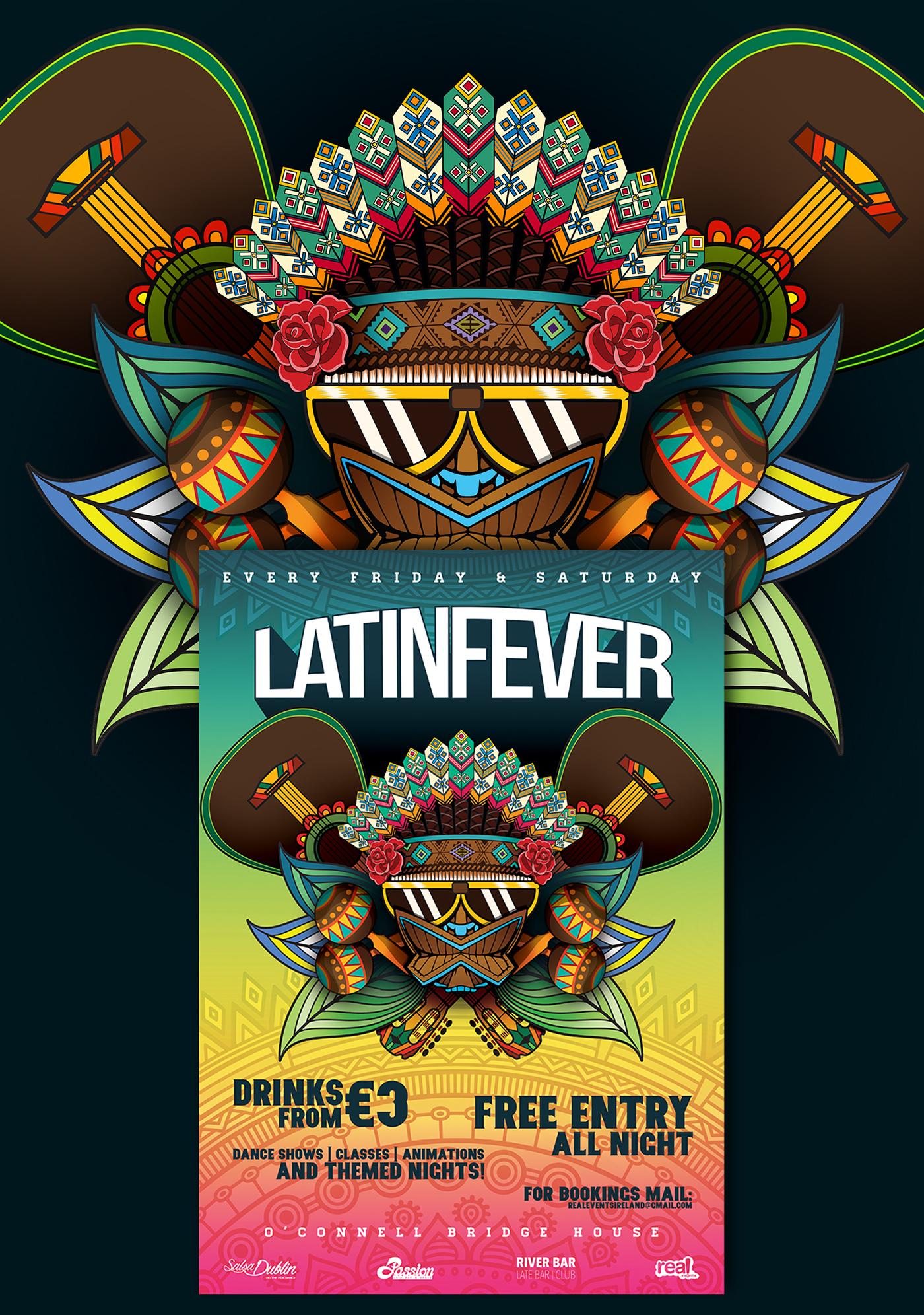 carranca Cocar latino latinparty dublin Ireland latinfever music party ILLUSTRATION
