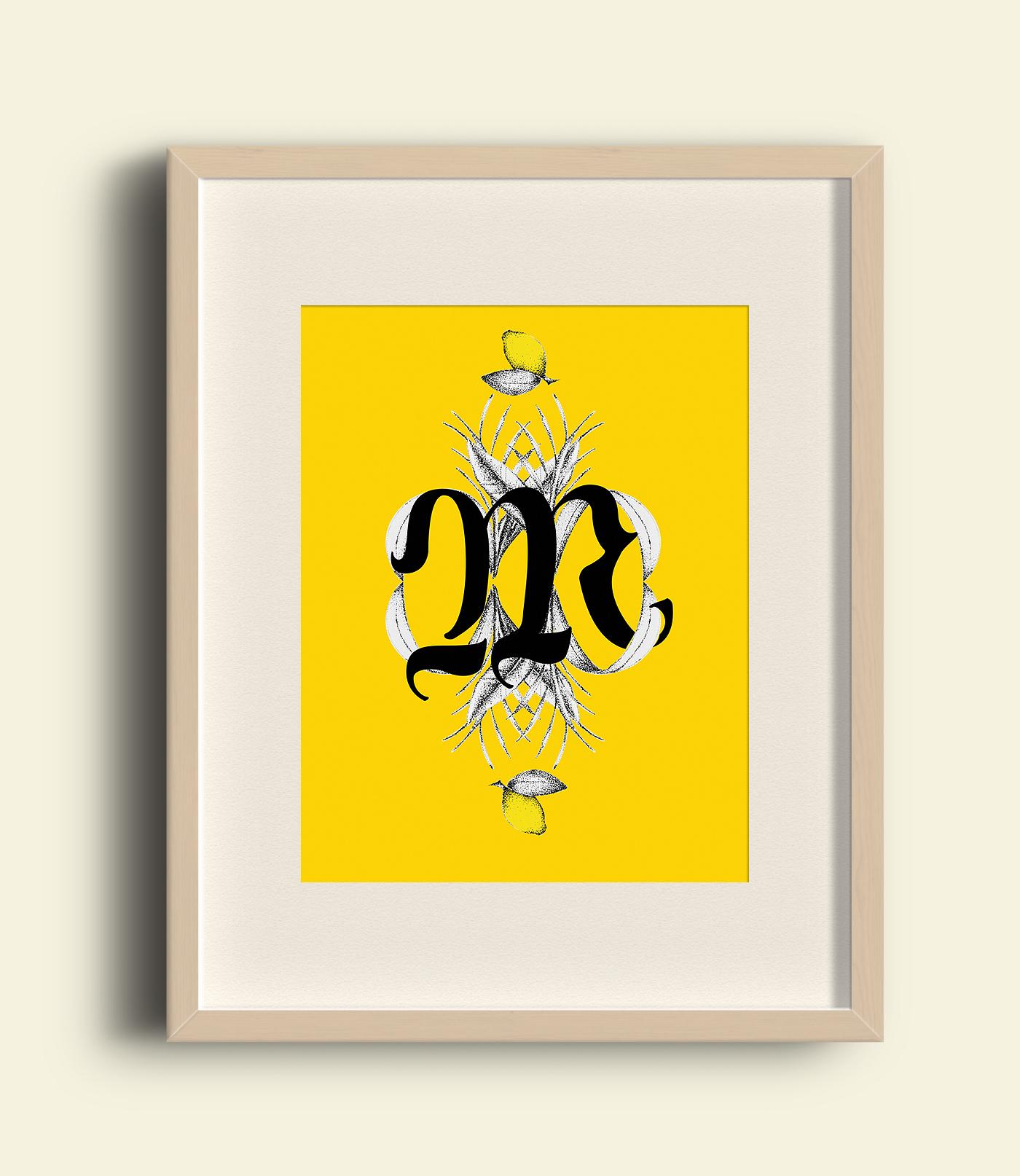 letters banana yellow plants stippling stipple dotwork
