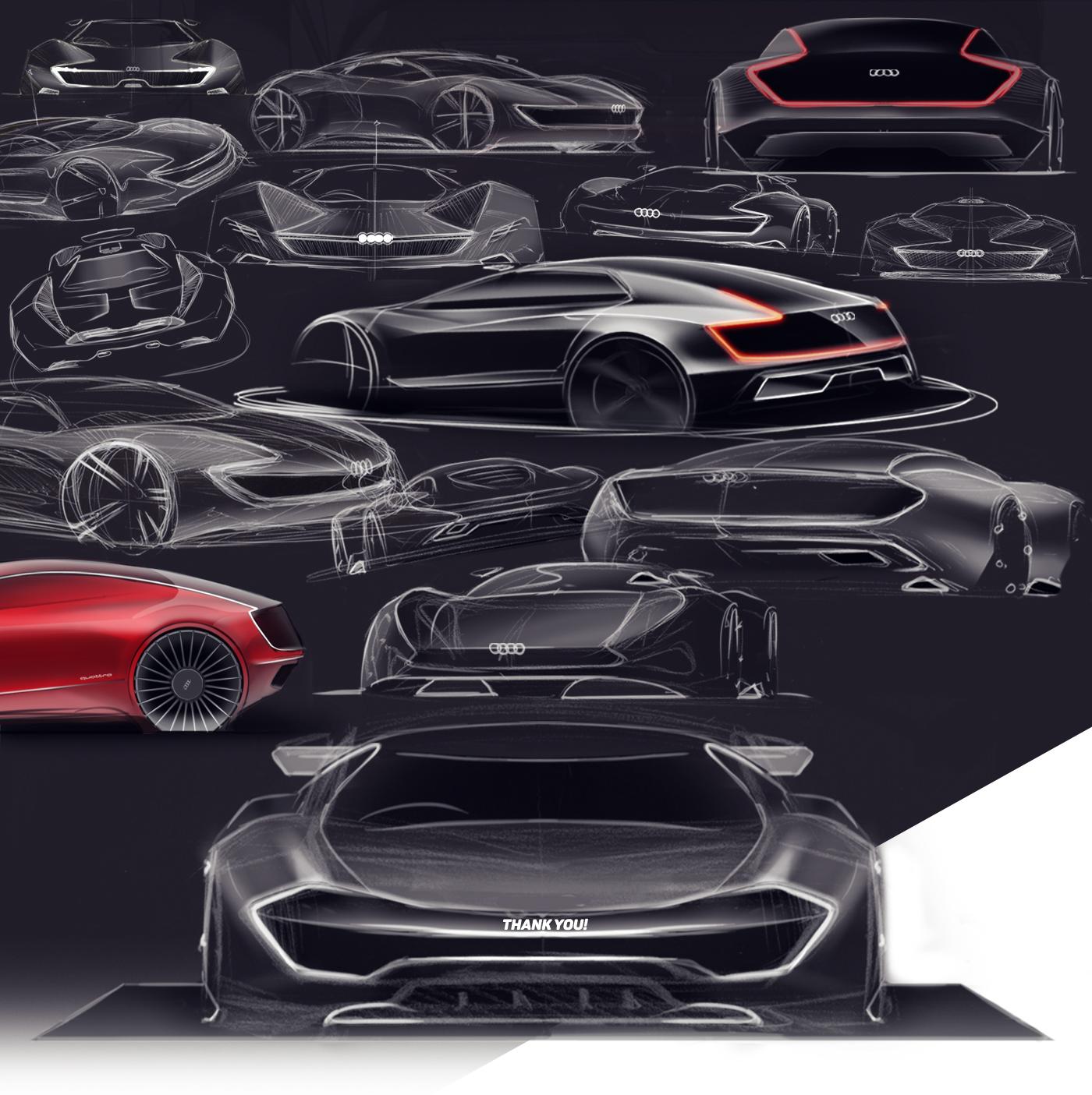 Audi quattro concept sketches rear