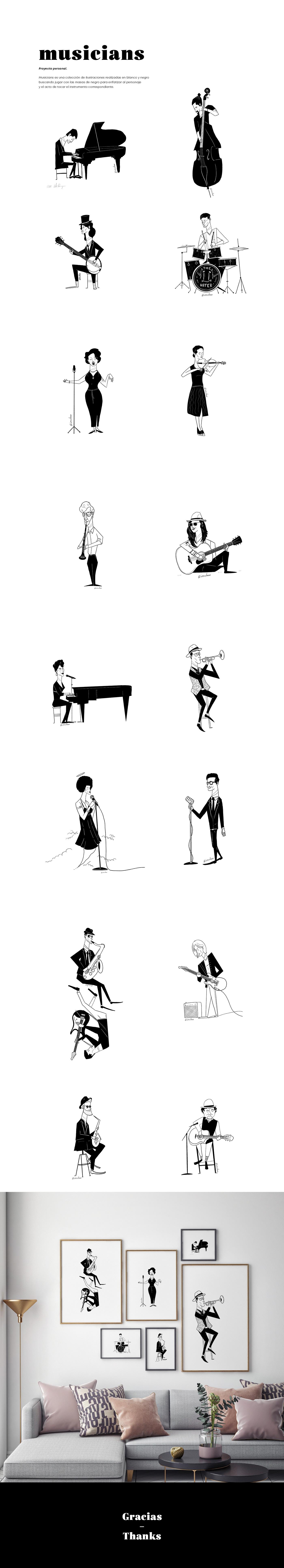 blanco y negro ilustracion musica poster print