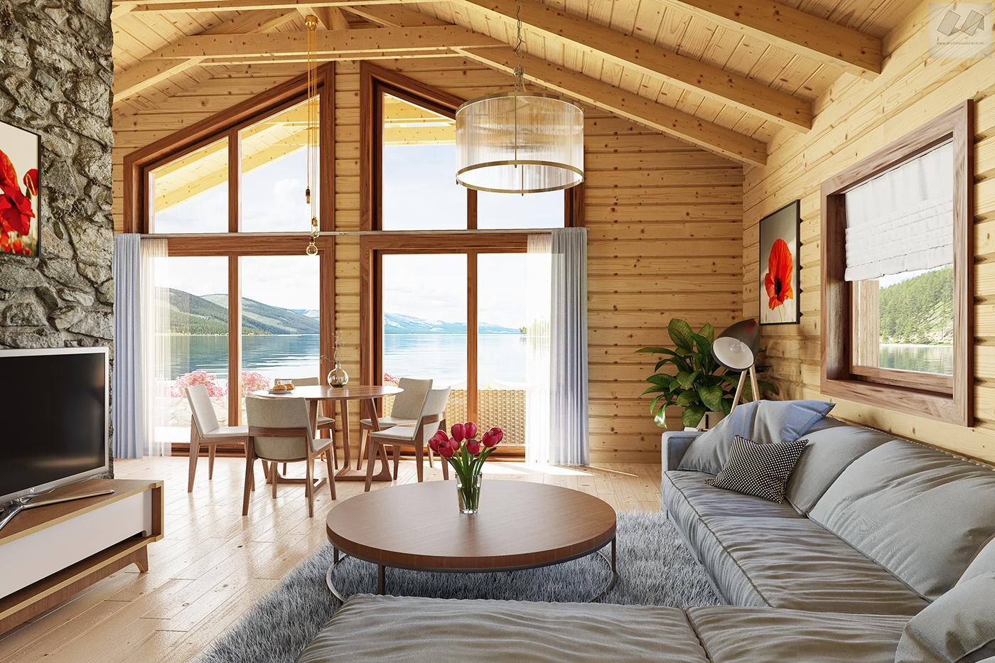 house wood CoronaRender  lake Nature