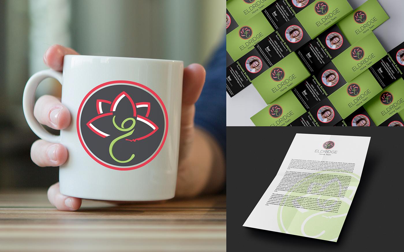 Show a mug mock up and business cards mock up.