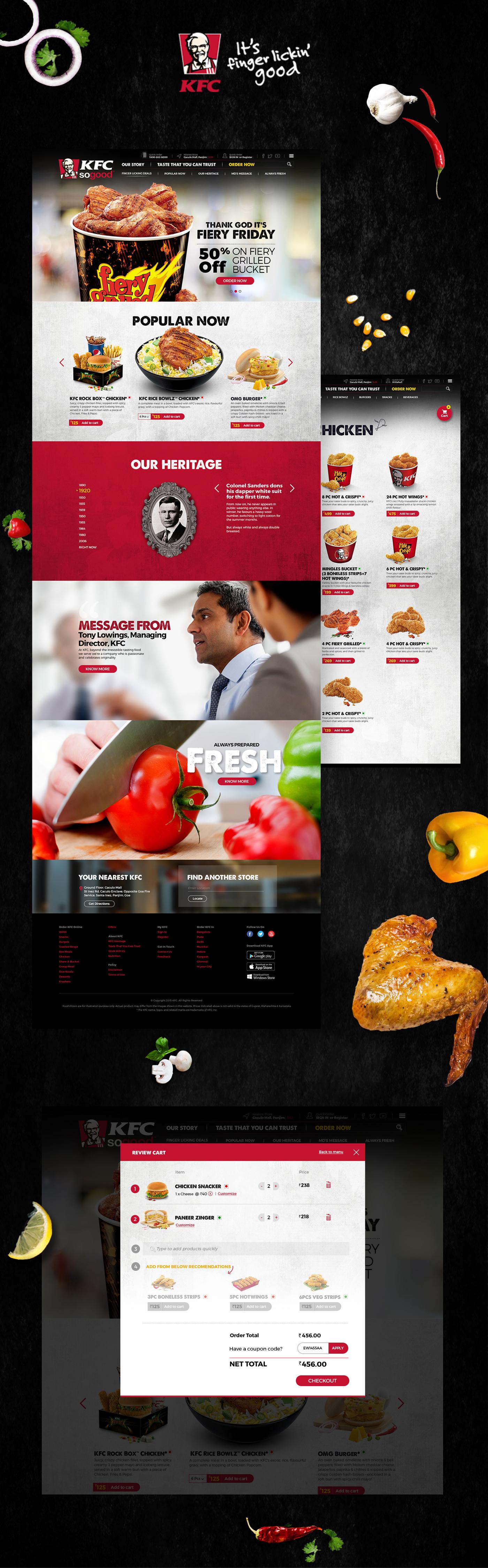 food ui KFC INDIA Food Listing UI Website UI/UX Fired Chicken chicken online food ordering KFC
