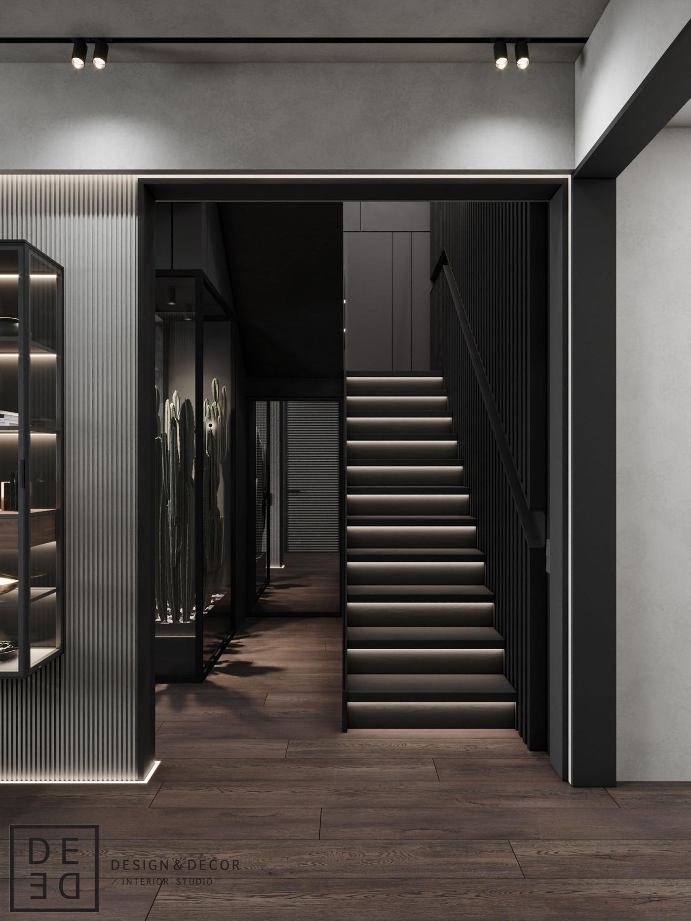 architecture architecture design corona render  DE&DE Interior Studio design Interior interiordesign LOFT Minimalism monochrome