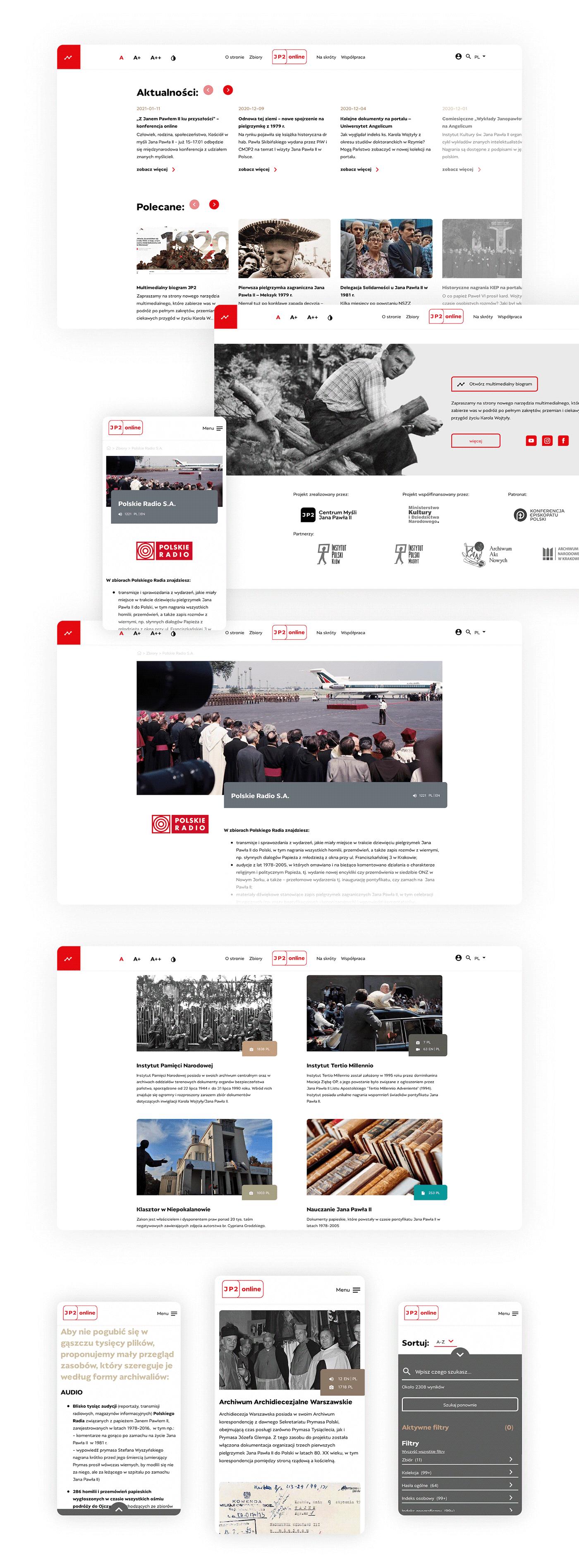 Experience john paul II JP2 prototype sketch UI ux Web Webdesign Website