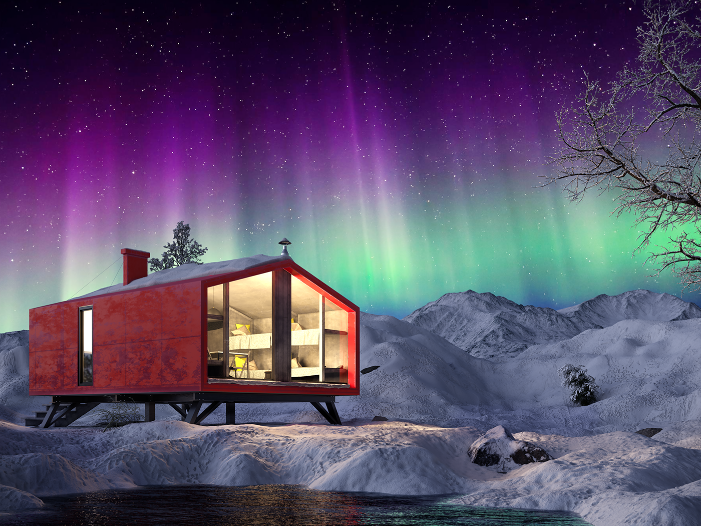 Dubldom BIO-architects tourist Murmansk region winter white sea snow The Mountains Kandalaksh