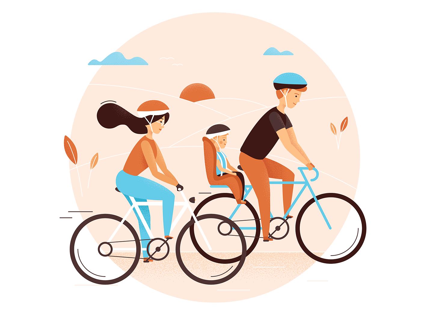 ILLUSTRATION  vector trip Bike family business ILU clean Illustrator ride