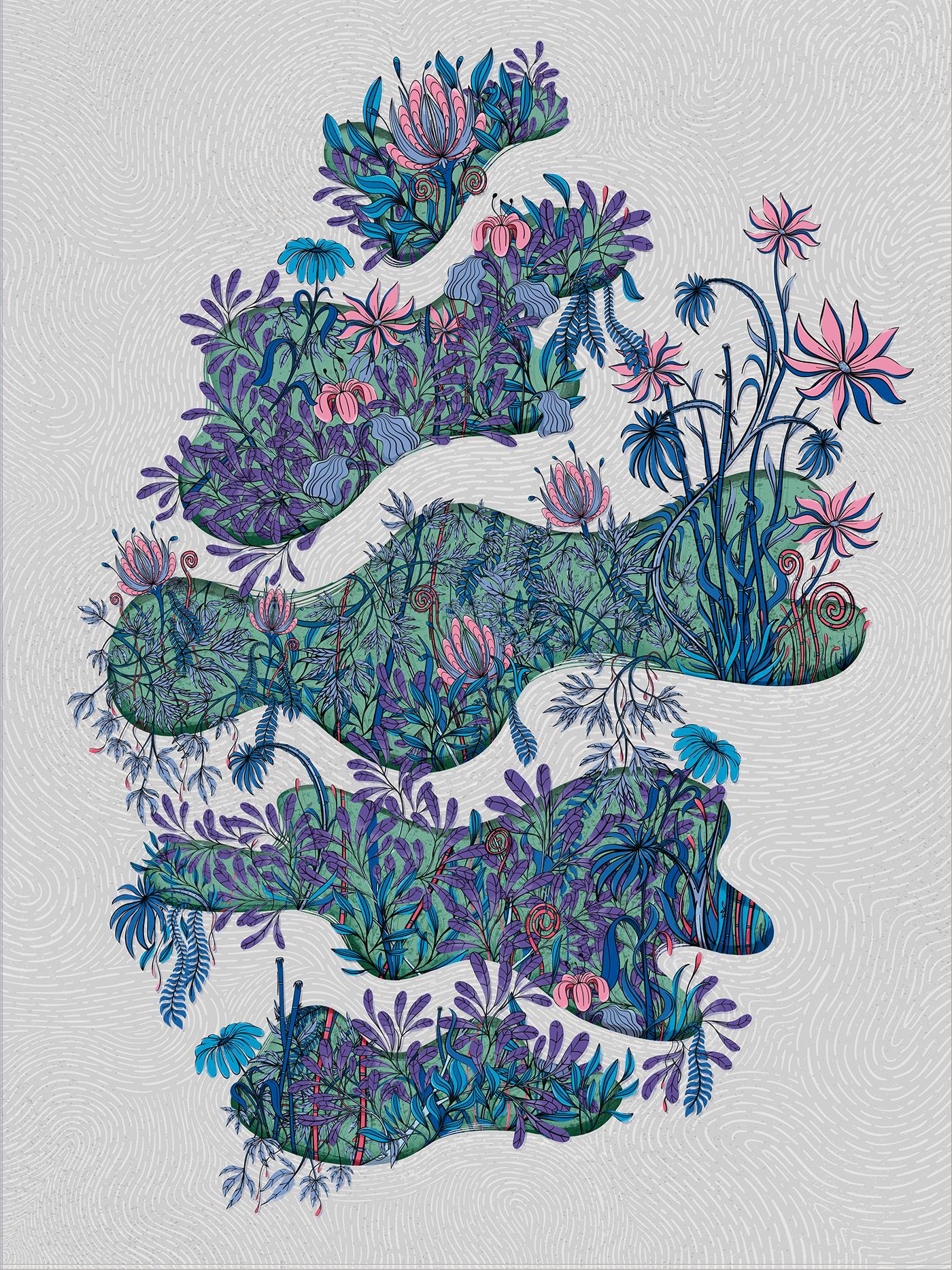 draw flower ILLUSTRATION  plants wall