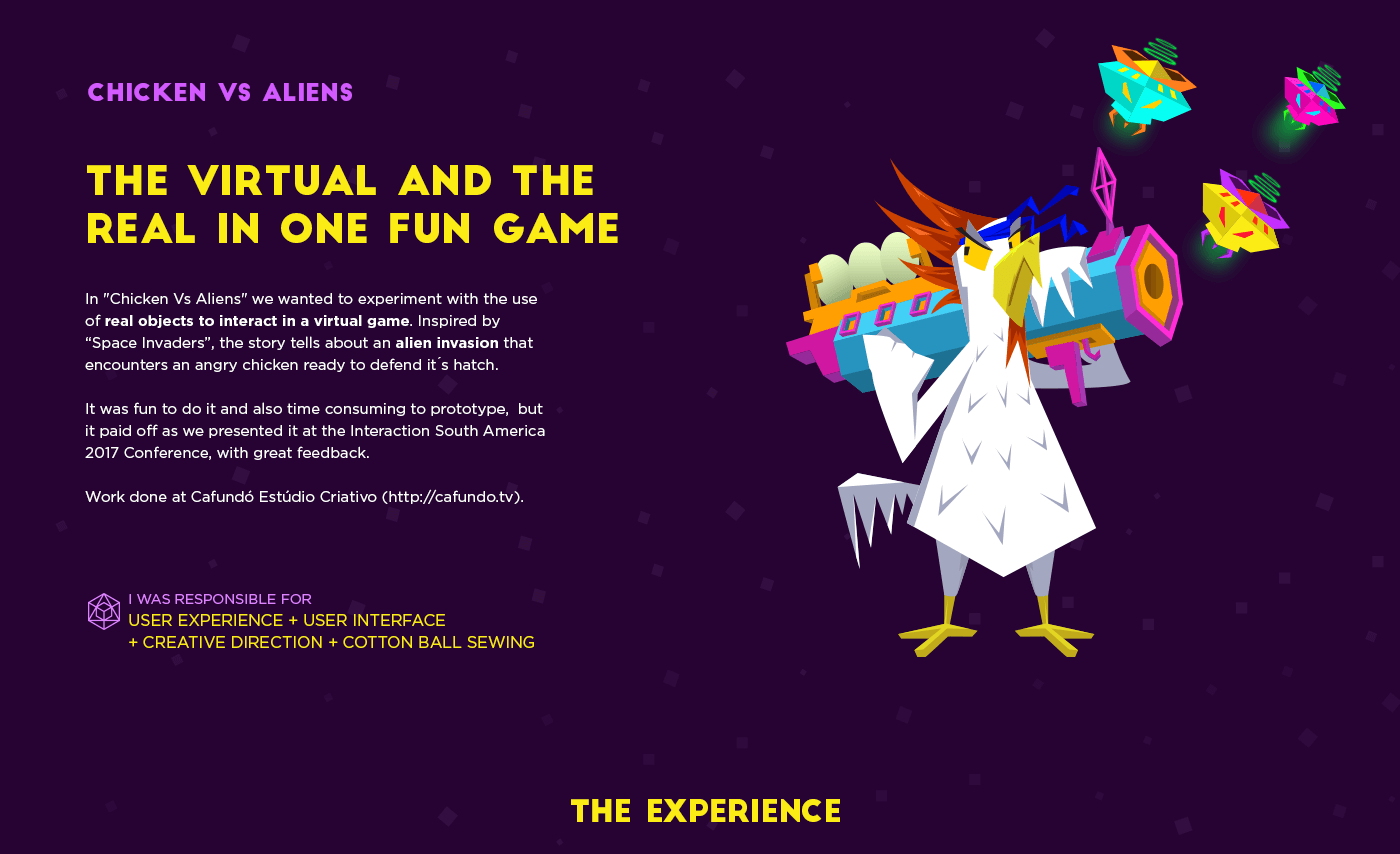 chicken alien kinect motion detection interaction Space Invaders game storytelling   Real virtual