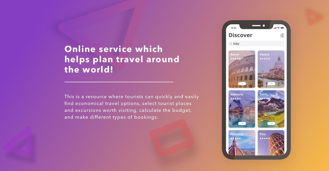 Mobile app Webdesign traveling tripplanner