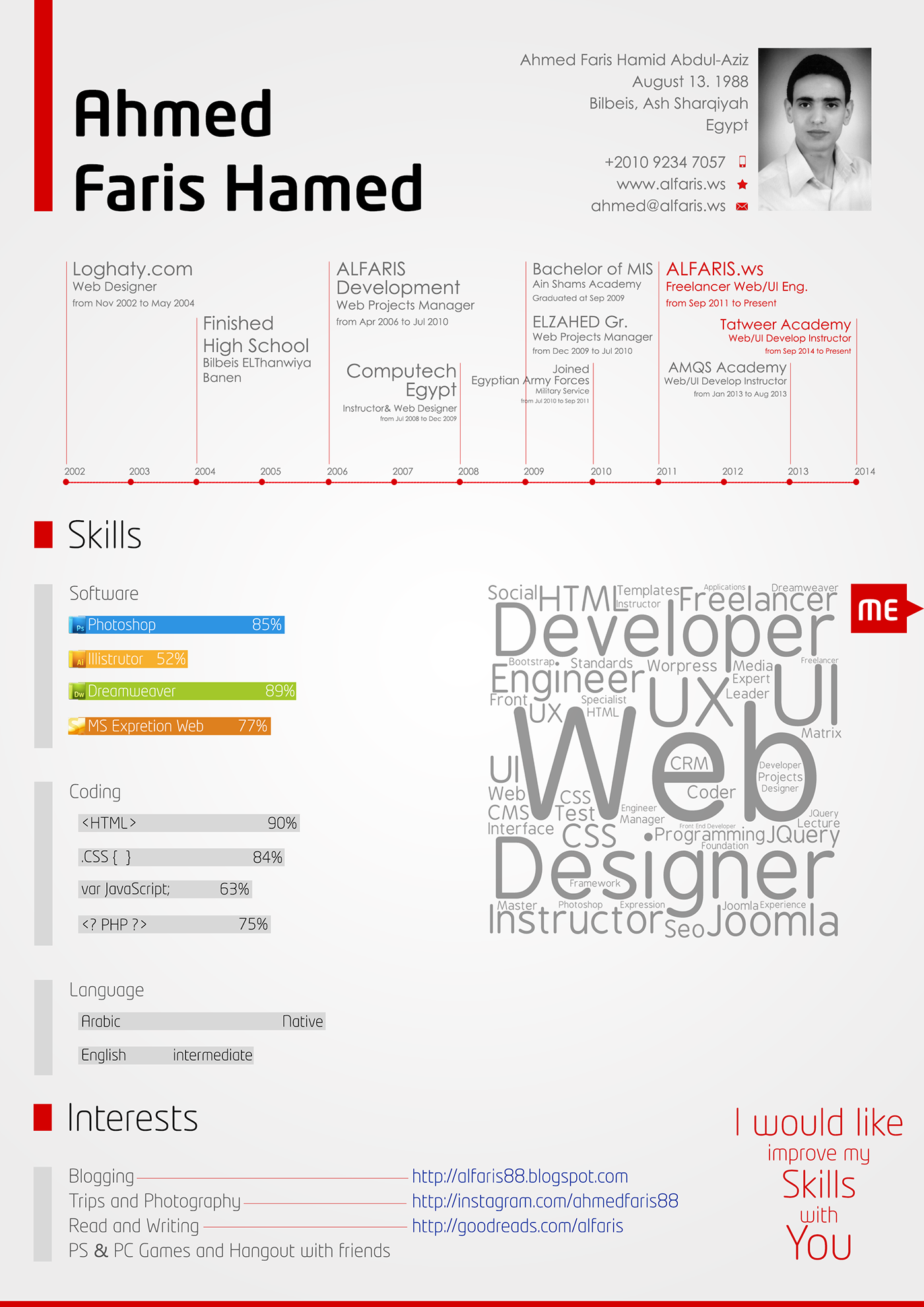 UI designer front end developer CV Resume freelancer Web designer UI Developer UX Designer web engineer