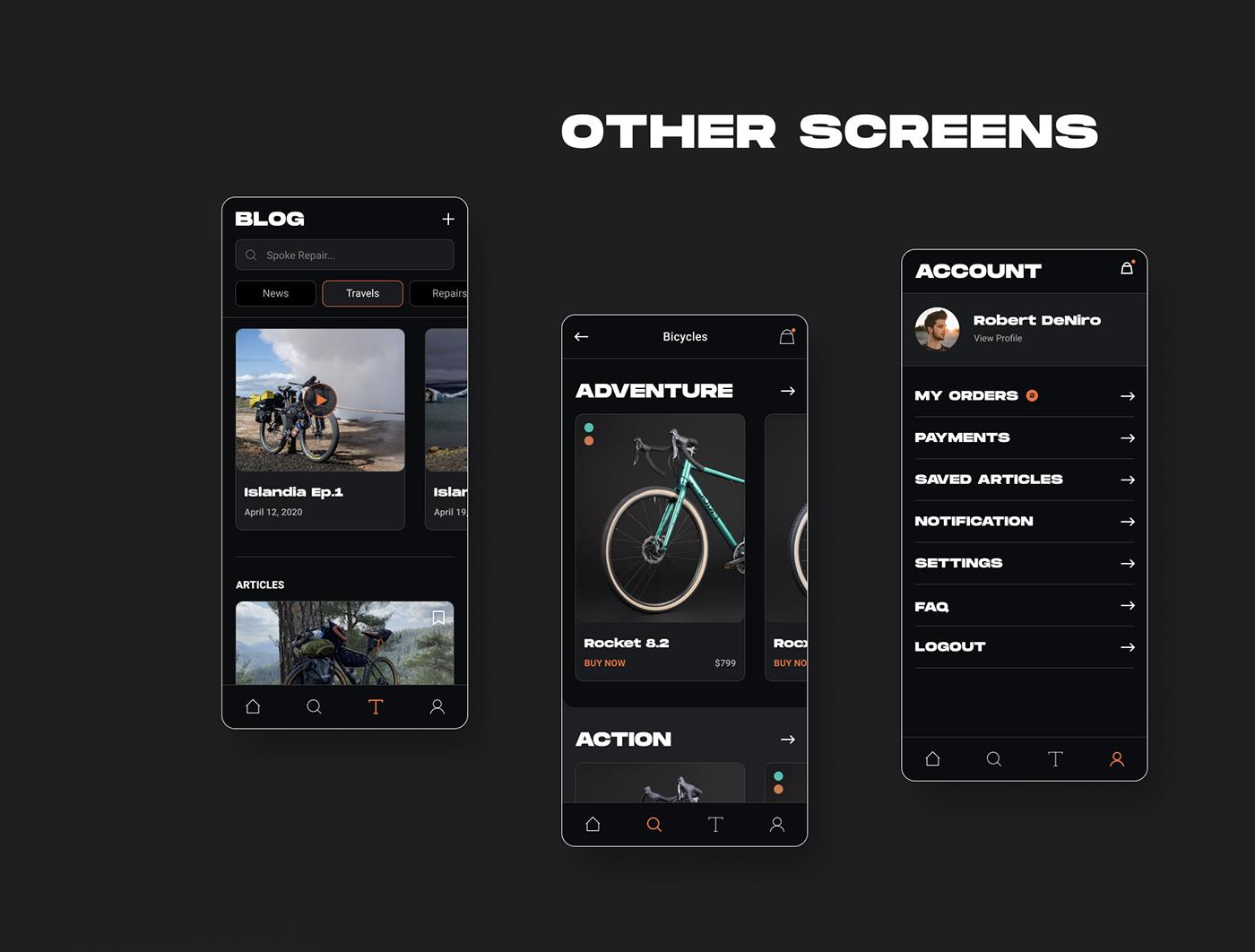 app Bicycle Bike catalog Ecommerce Mobile app shop sport UI ux