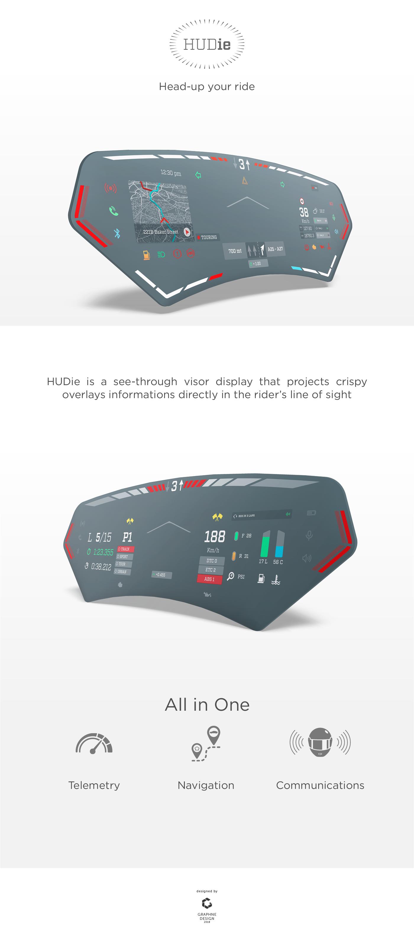 HUD UI Interface augmented visor motorcycle Helmet animation  automotive   Smart