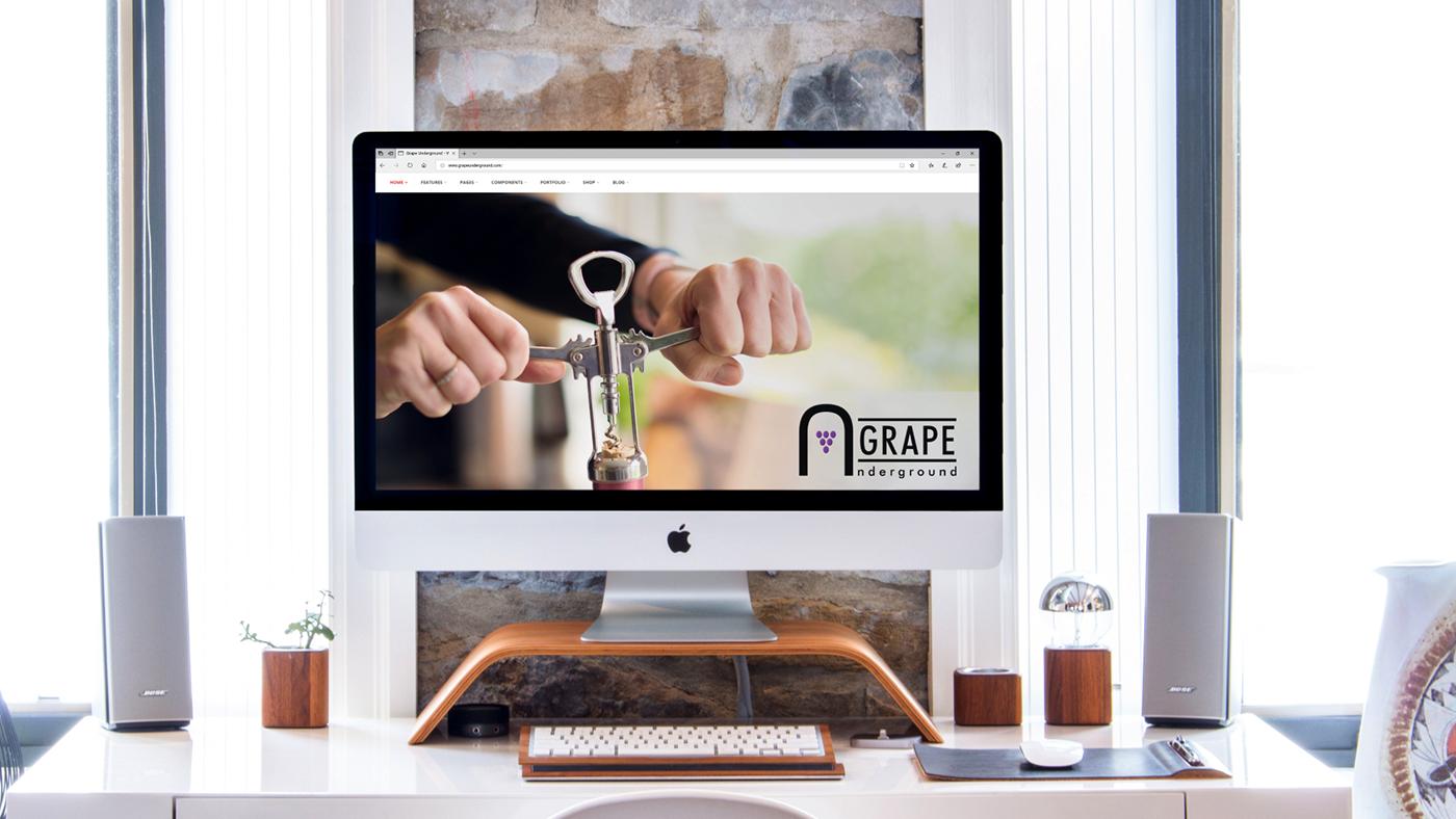 Grape Undeground wine Mockup Logo Design presentation Futura modern Website grape