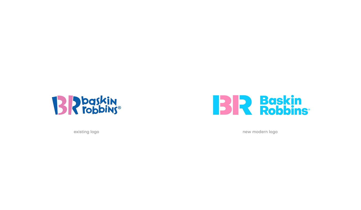 Baskin Robbins baskin robbins ice cream branding  colors colorful logo Icon gradient