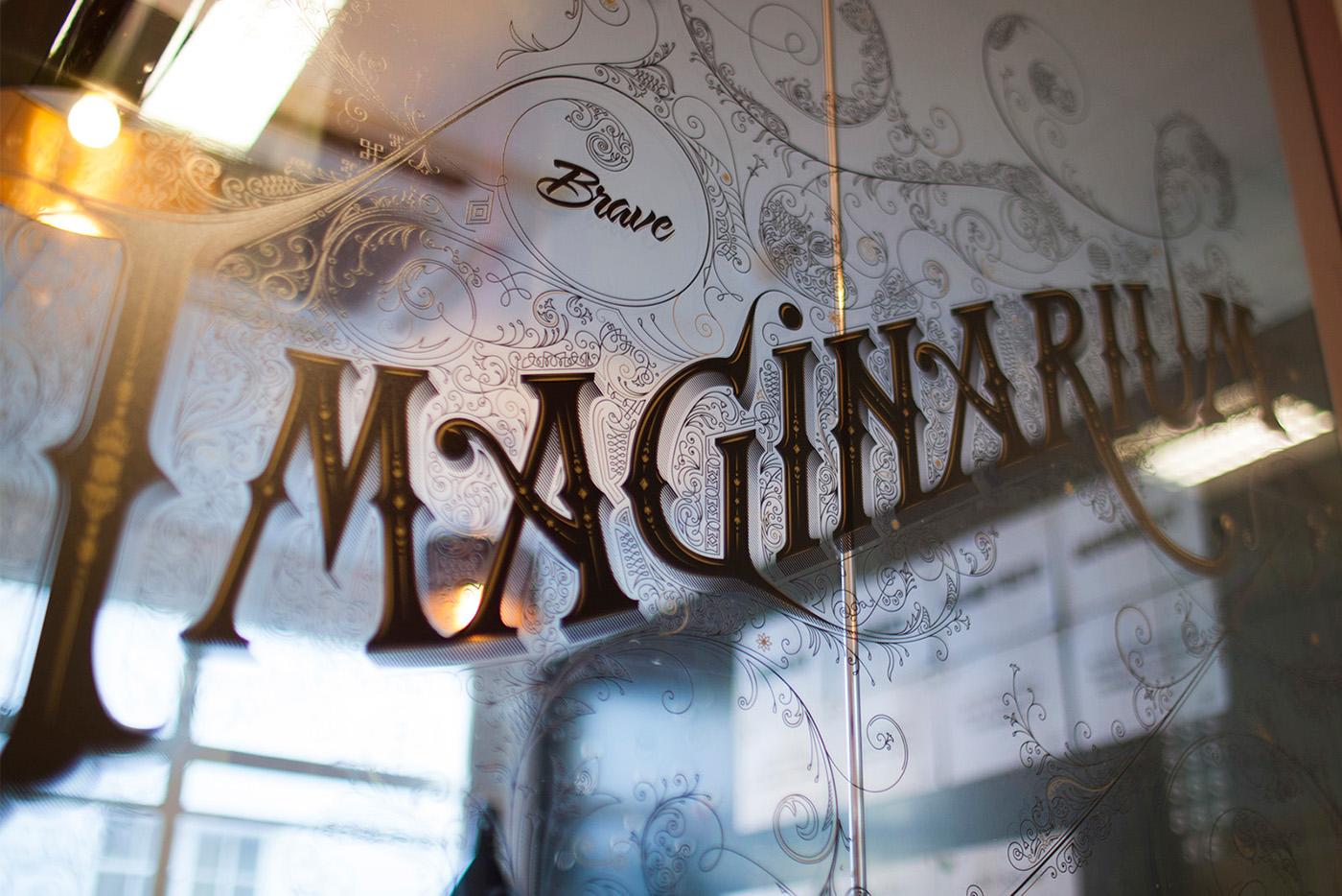 imaginarium vintage type black gold anton Burmistrov Swirls ornaments flourishes Estonia Tallinn Brave agency glass