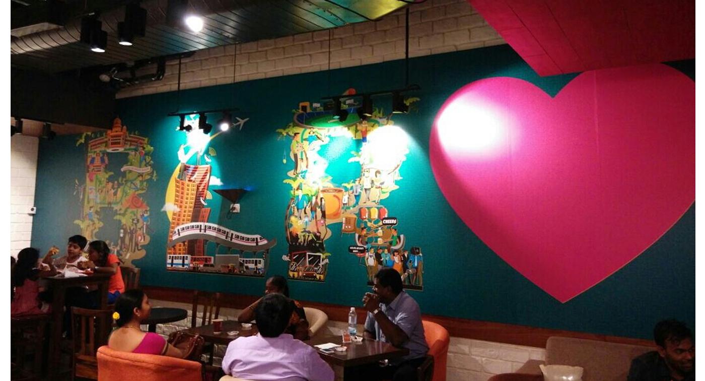 Wall Mural grafitti India Dunkin Donuts karthik SS yatish asthana johnathan stephen Interior Space design city art Delhi banagalore Hyderabad Goa chennai