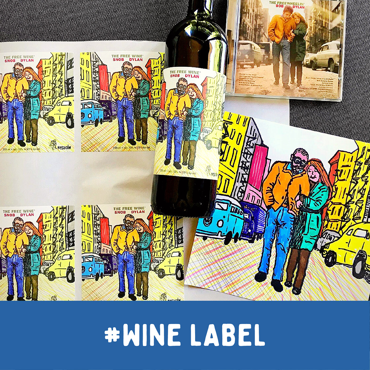 Product label / wine drawn label / SNOB DYLAN