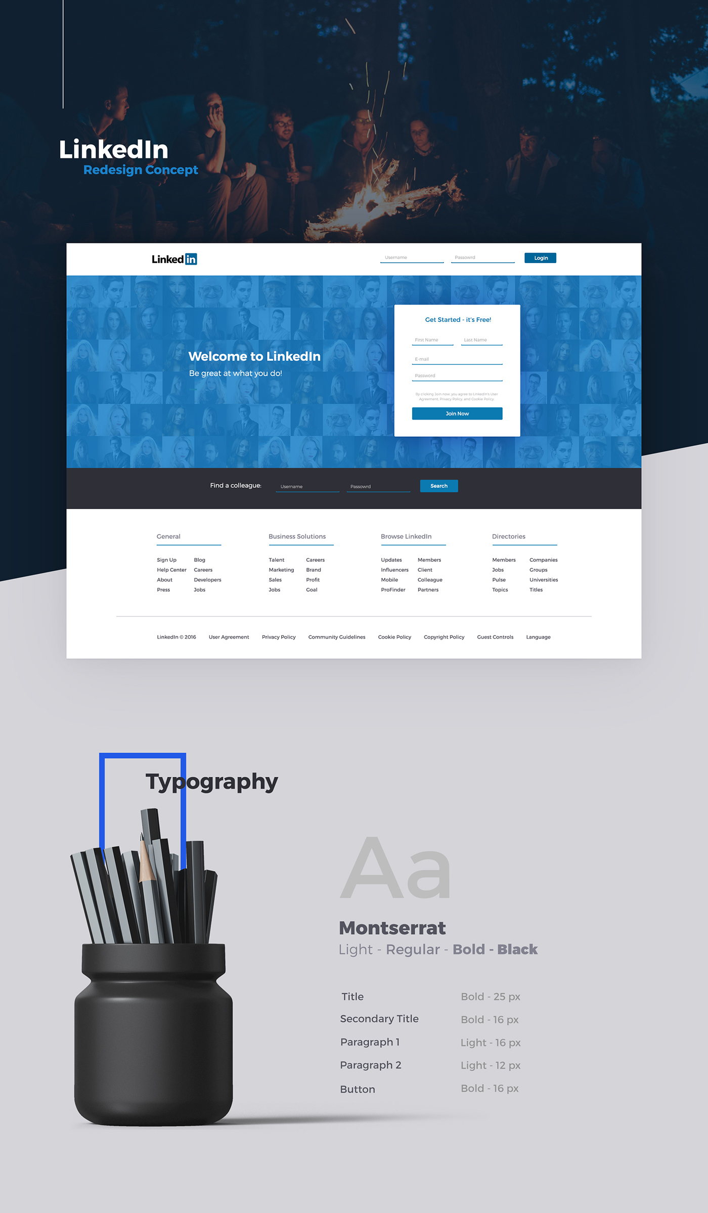 Linkedin redesign concept social Website Interface profile home reinvention
