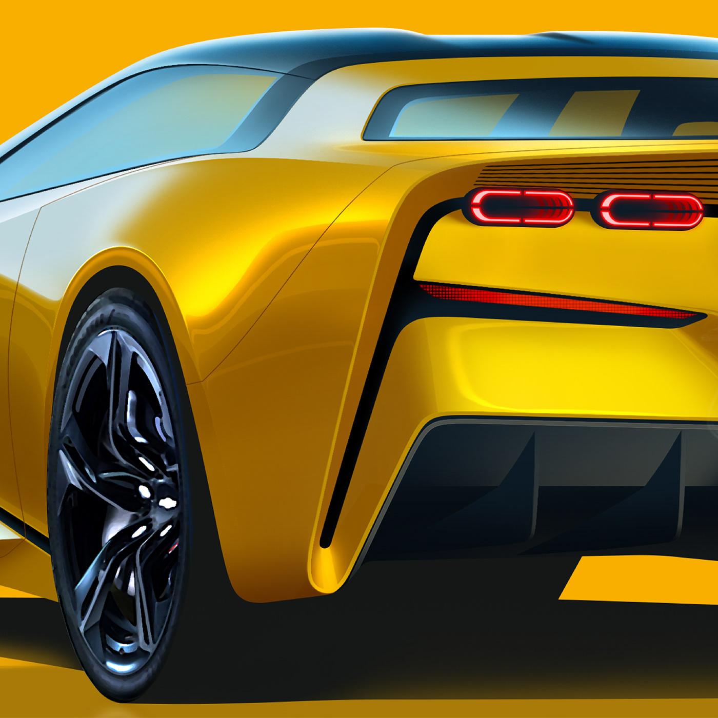 american autodesign car cardesign chevrolet Corvette rendering sketch Sportscar transportation