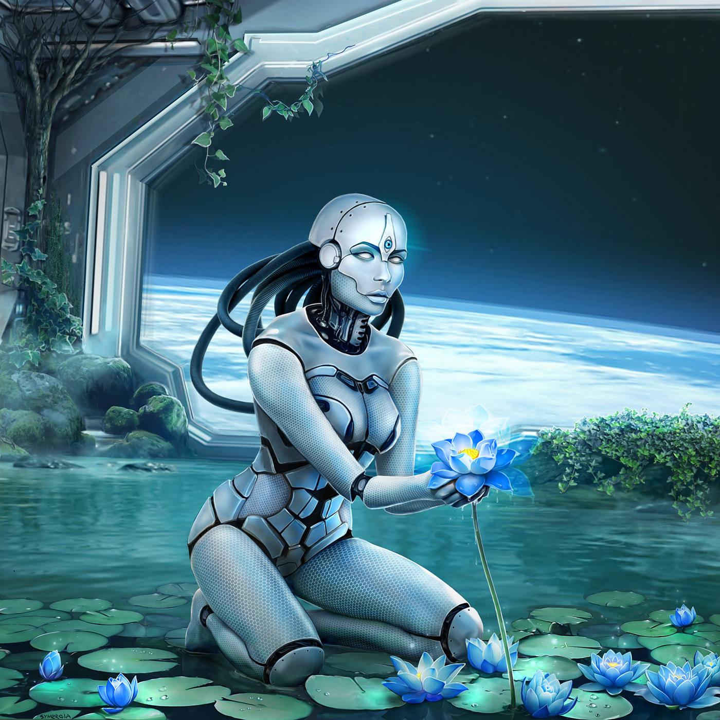art cosmos cover digitalart fantasy FUTURISM Lotus sacred woman
