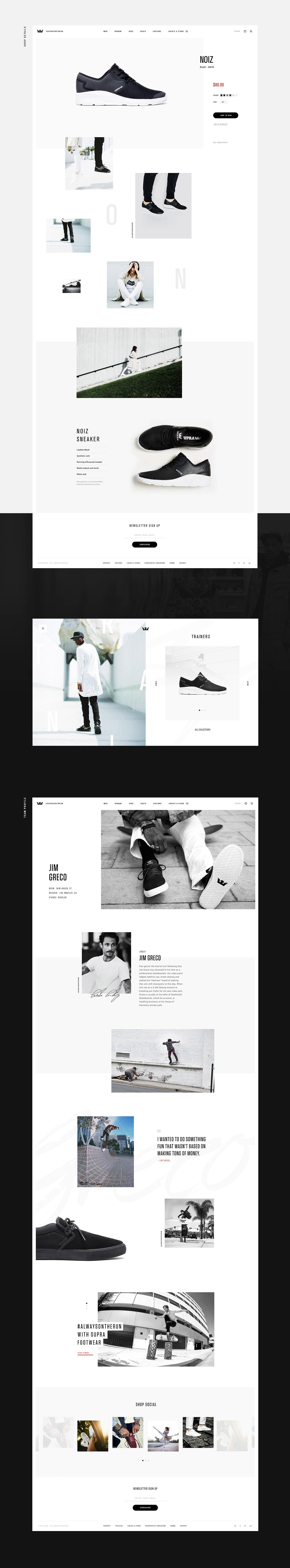 Supra interaction Ecommerce grid UI ux redesign animation  streetwear footwear