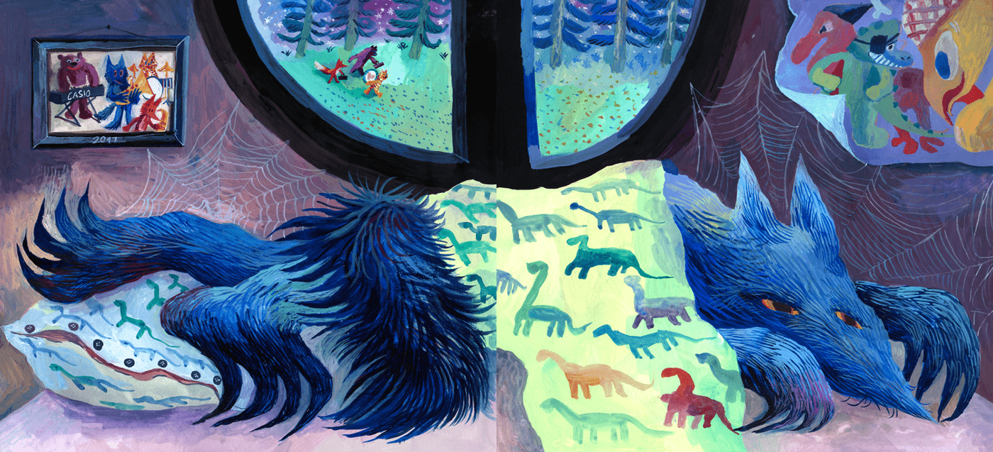 animal illustration color work Illustrated book narrative art Picture book wolf