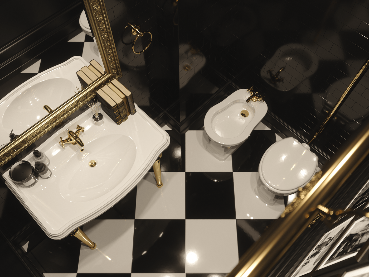 3ds max black tile FStorm gentlemans room gold faucet interior design  toilet