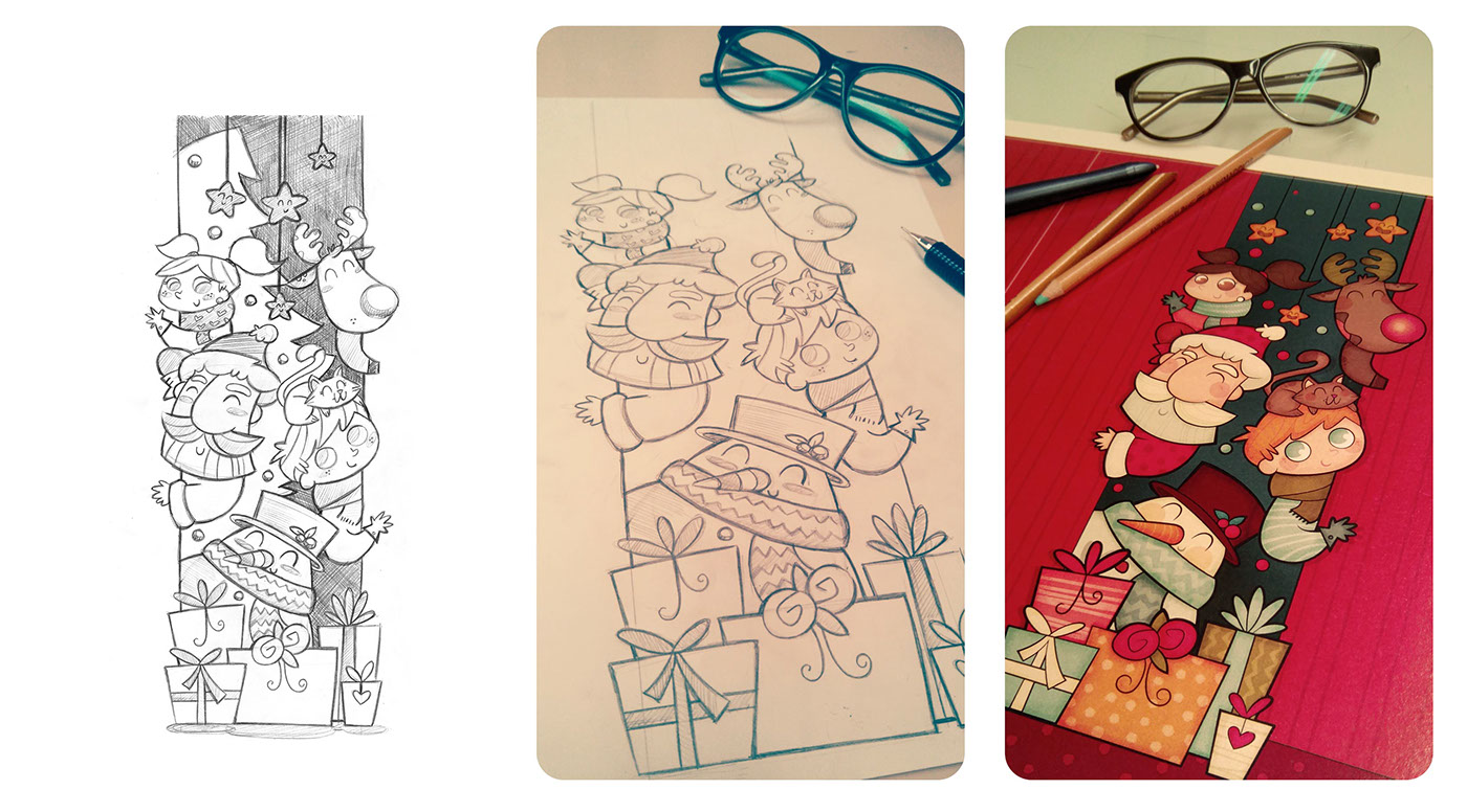 ilustracion Christmas infantil papa noel niños