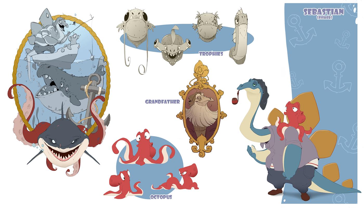 Character design  creature dinosaurs cartoon animation  ILLUSTRATION