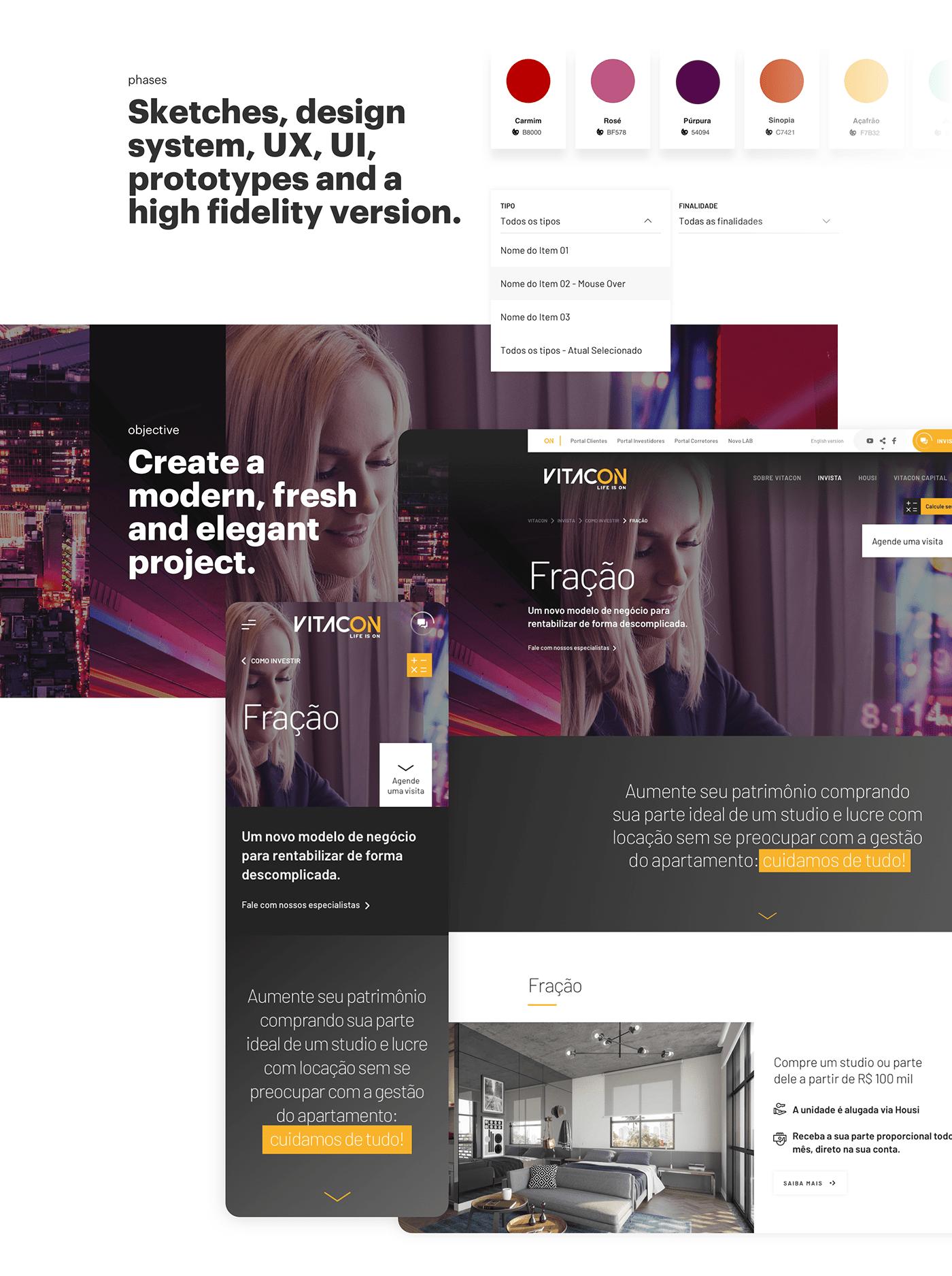 vitacon construction user interface user experience Interaction design  minimalist award são paulo grids 8px