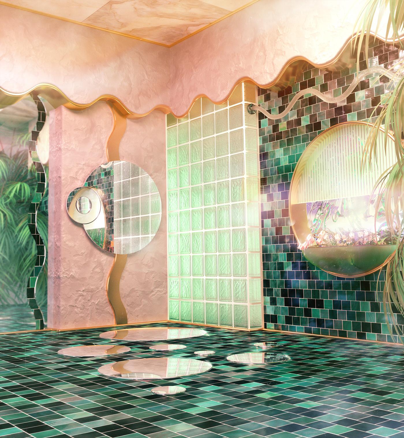 architecture,dreamscape,environment,concept art,surreal,futuristic,retrofuture,whimsical,Interior,3D