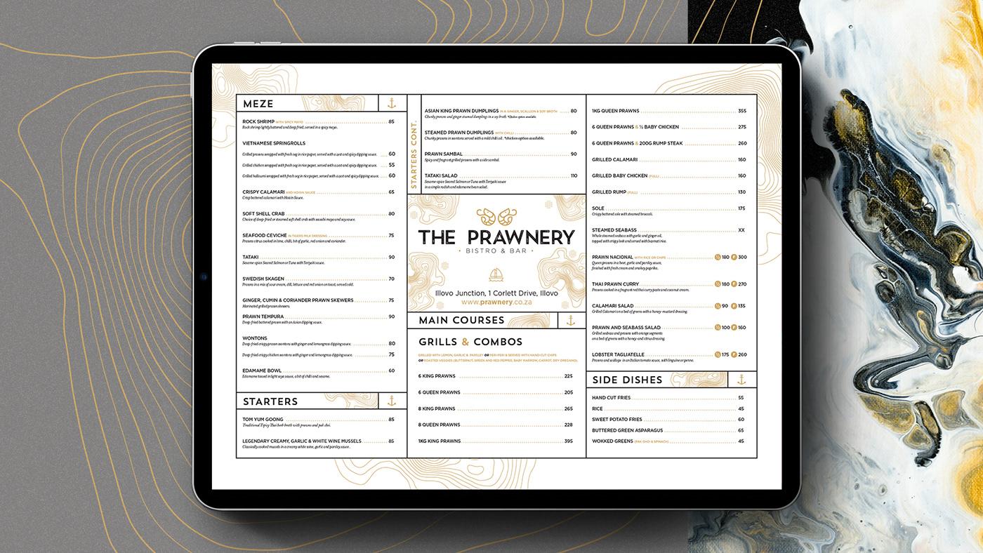 The Prawnery menu inside an ipad