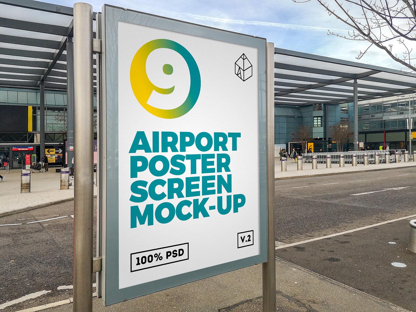 Mockup mock-up poster print design screen airport terinal Display lcd
